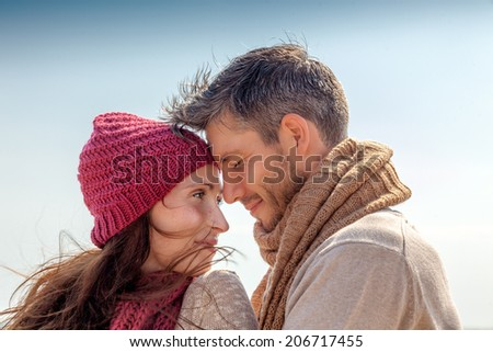 seaside portrait of adult parents - stock photo