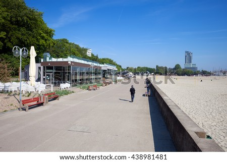 Seaside promenade along the beach in city of Gdynia, Poland