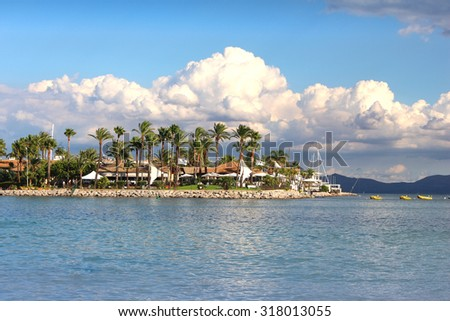 Seaside resort in Alcudia, Spain - stock photo