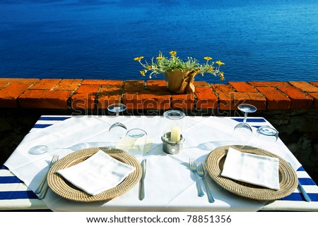 Seaside table - stock photo
