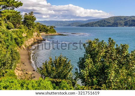Seaside view in the Spanish fortress in Niebla, Valdivia, Patagonia, Chile