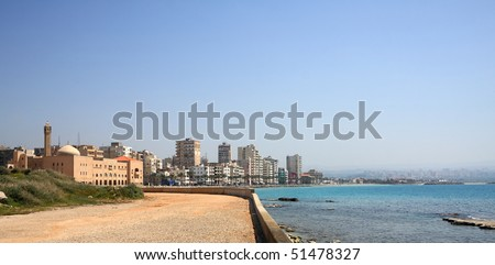 Seaside view of Tyre, Lebanon