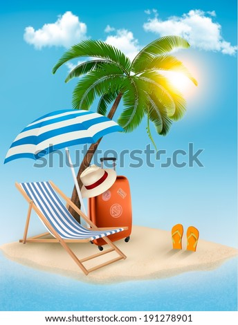 Seaside view with a palm tree, beach chair and parasol. Summer vacation concept background. Raster version - stock photo
