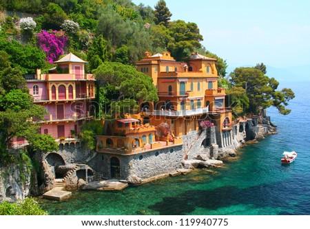 Seaside villas near Portofino in Italy - stock photo