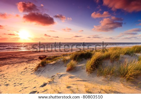 Seaside with sand dunes and colorful sky at sunset - stock photo