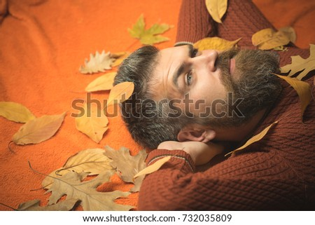 Season and autumn. leaves background at barber and hairdresser. Hipster or bearded guy in autumn on orange background. Floral fashion and beauty. Man with long beard in natural yellow fall leaves.