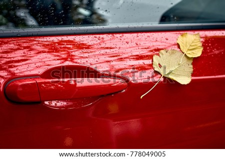 season and transport concept - Red car door handle. Autumn weather drops and a & Oval Door Stock Images Royalty-Free Images u0026 Vectors | Shutterstock pezcame.com