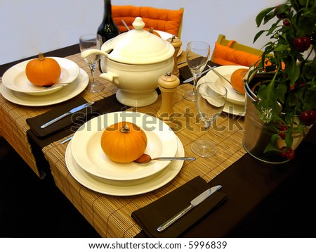 season dinner with elements of fall time - stock photo