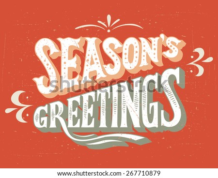 Season's greeting vintage hand-lettering retro card - stock photo