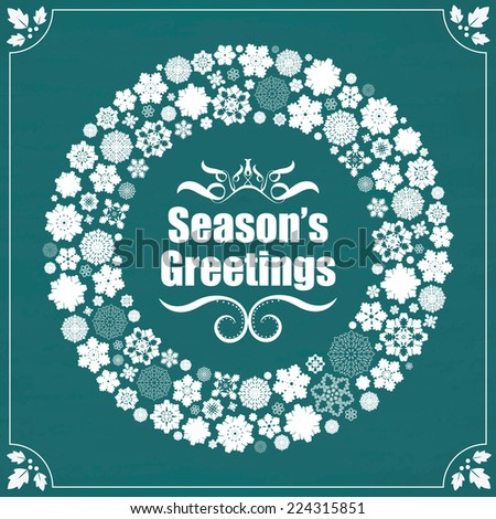 Season's Greetings - Vintage design snowflakes border on chalkboard  - stock photo