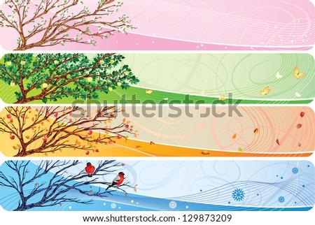 Seasonal banners set. - stock photo