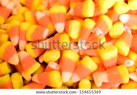 seasonal candy corn for Halloween - stock photo