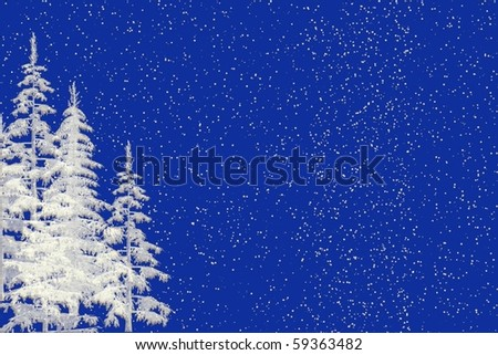 Seasonal Christmas blue background illustration with white christmas trees and falling snow - stock photo