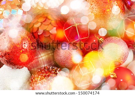 Seasonal Christmas decoration background as a fragment of a decorated christmas tree covered with bokeh light effect