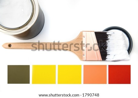 Seasonal colors with white brush - stock photo