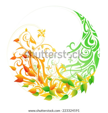 Seasonal cycle from spring into autumn. Timeline concept - stock photo