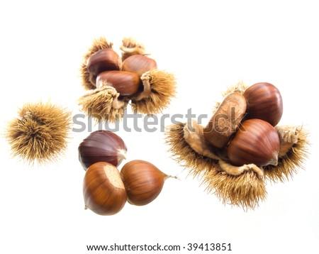 Seasonal fruits like sweet chestnuts isolated on a white background. - stock photo