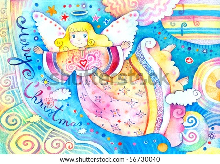 Seasonal illustration of an angel created with watercolor and colored pencils. - stock photo