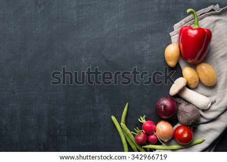 Seasonal vegetable cooking background - stock photo