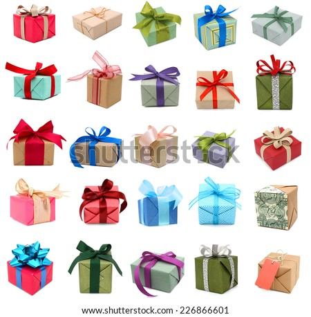 Seasonal wrapping gifts on collection  - stock photo