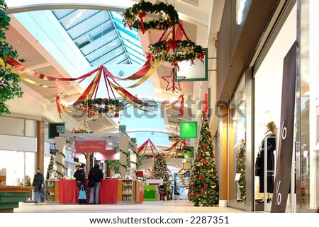 Seasonally decorated shopping mall passage - stock photo
