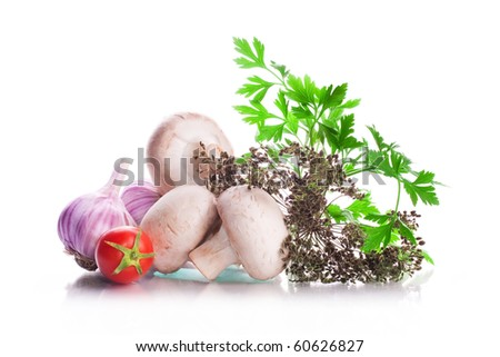 Seasoning and vegetables a tomato with a branch, mushrooms, fennel, parsley and heads of garlic with reflection isolated on a white background - stock photo