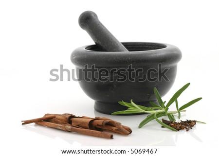 Seasonings and stone mortar - stock photo