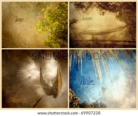 Seasons collage with text, grunge textured. - stock photo