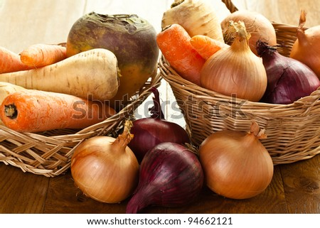 Seasons favorites produce of swede carrot parsnips and onions - stock photo