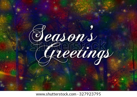 Seasons Greetings card with a colorful background of lights