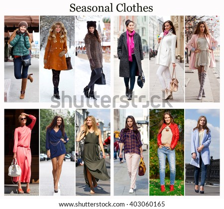 Seasons, twelve months. Twelve different women in seasonal clothes for each month of the year