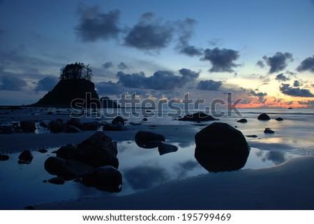 Seastack at Dusk, Ozette Coast, WA - stock photo