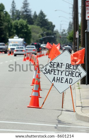 Seat Belt Check Point - stock photo