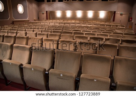 Seat rows in an theater without audience - stock photo