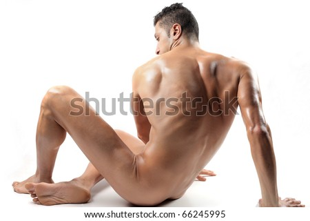 Seated brawny man - stock photo