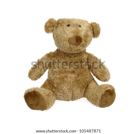 seated teddy bear. isolated on white - stock photo