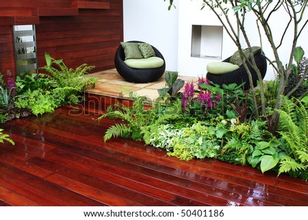 Seating and plants - stock photo