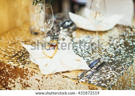 seating cards on the table - stock photo
