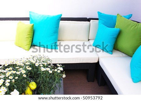 Seating with pillows - stock photo