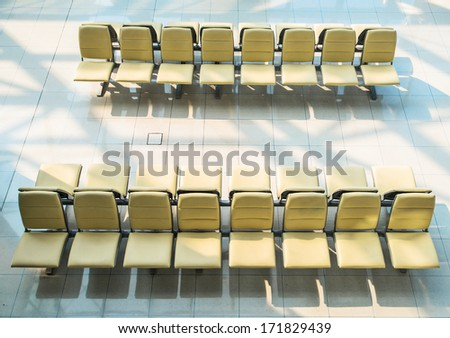Seats in a departure gate of Bangkok Airport in Thailand