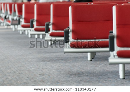 Seats in Air Terminal - stock photo