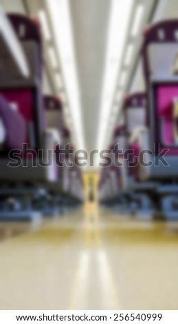 Seats in Train in Blur style - stock photo