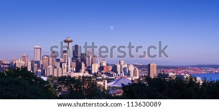 Seattle and Mt. Rainier view from Kerry Park - stock photo
