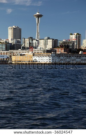 Seattle and the Space Needle view from a boat - stock photo