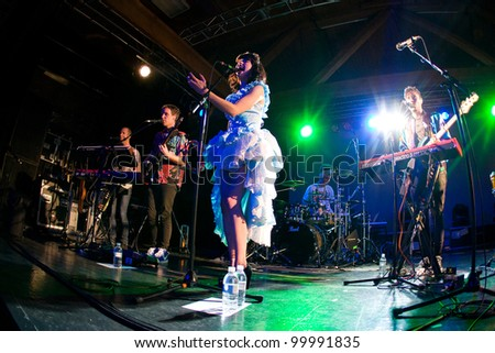 SEATTLE - April 10:  Alternative soul singer Kimbra performs on stage at Showbox Sodo in Seattle on April 10, 2012.