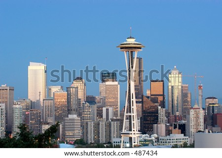 Seattle at dusk - stock photo