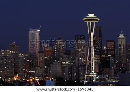 seattle at dusk from queen ann - stock photo