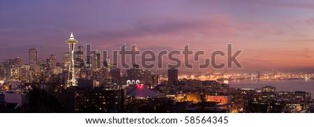 Seattle city skyline at Christmas.  Washington, USA - stock photo