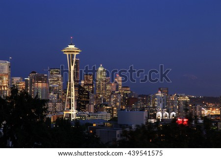 Seattle Cityscape with Mt. Rainier in the Background, Washington, USA