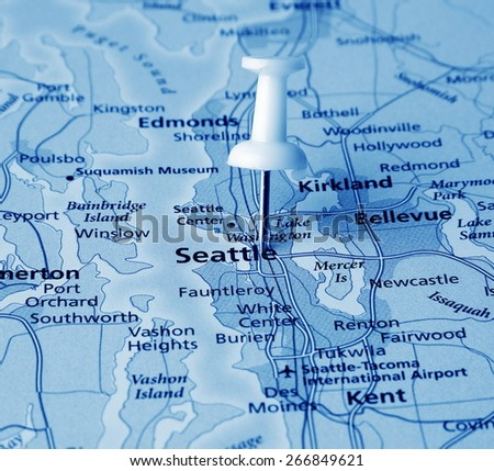 Seattle destination in the map - stock photo